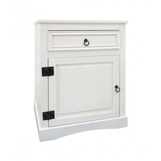 mobili rebecca table de chevet 1 tiroir 1 port bois blanc classique elegant chambre bain