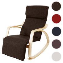 Mendler - Fauteuil à bascule Malmö, rocking-chair, fauteuil de relaxation, 95x66x115cm ~ lin, marron foncé
