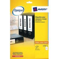 Avery - Etiquettes universelles classeurs à levier 192 x 38 mm L4760 - Pochette de 175