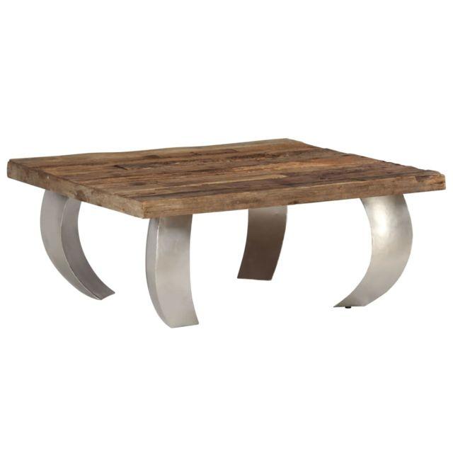 Vidaxl Table Basse Opium Bois de Récupération et Acier Canapé Table d'Appoint