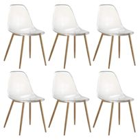 zons lot de 6 chaises plexi transparent en pc 52x46xh84cm - Chaises Scandinaves Transparentes