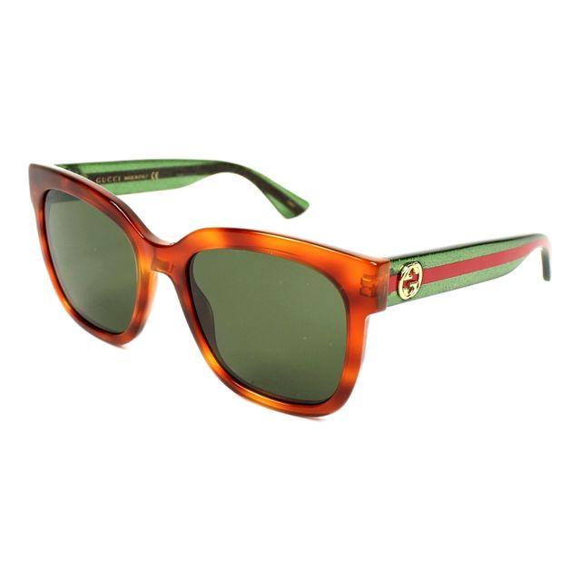 Gucci - Lunettes de soleil Gg-0034-S 003 Femme Marron - pas cher ... 3515d64c8f92