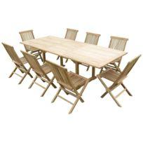 Teck'LINE - Ensemble de jardin en teck premium Astana 8 chaises Jenae
