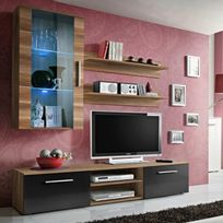 "Paris Prix - Meuble Tv Mural Design ""Galino V Wood"" Prunier & Noir"
