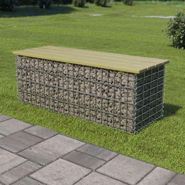 Esthetique Sièges de jardin selection Vienne Banc de gabion 120 cm Acier galvanisé et pinède FSC
