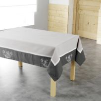 Charme & Douceur - Cdaffaires Nappe carree 85 x 85 cm polyester brode bonheur Taupe/Anthracite