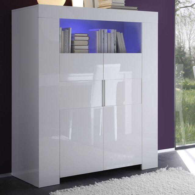 Nouvomeuble Buffet Haut Design Blanc Laqué Lima Pas Cher