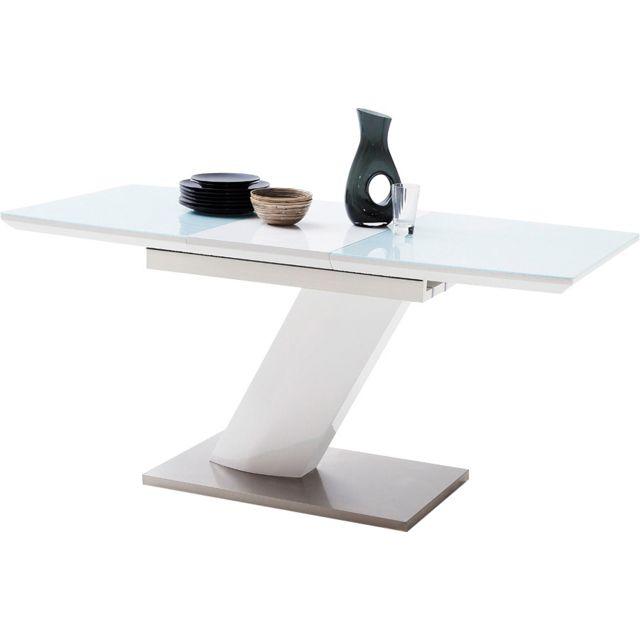 Table A Manger Extensible Blanc Design Avec Un Plateau En Verre Trempe Securit Et Son Pietement En Mdf Blanc Laque Avec Un Socle En Acier Inoxydable