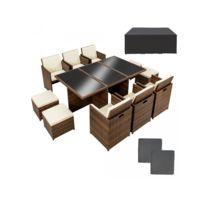 Helloshop26 - Salon de jardin rotin résine tressé synthétique marron 11 pièces 2108038