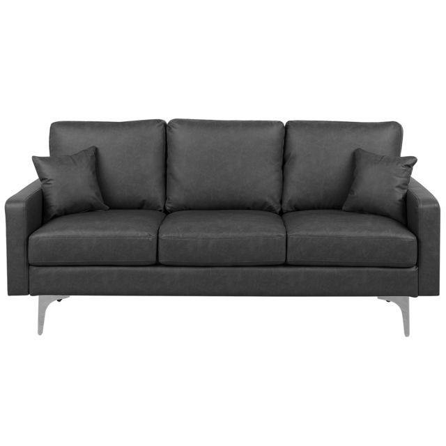 Canapé en simili-cuir gris foncé GAVLE
