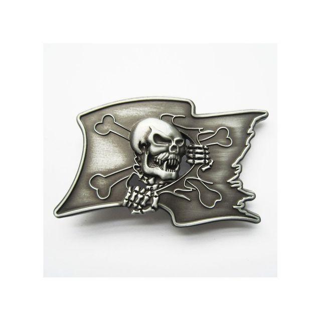 ff26f81400b8 Universel - Boucle de ceinture crane drapeau pirate drapeau alu mixte