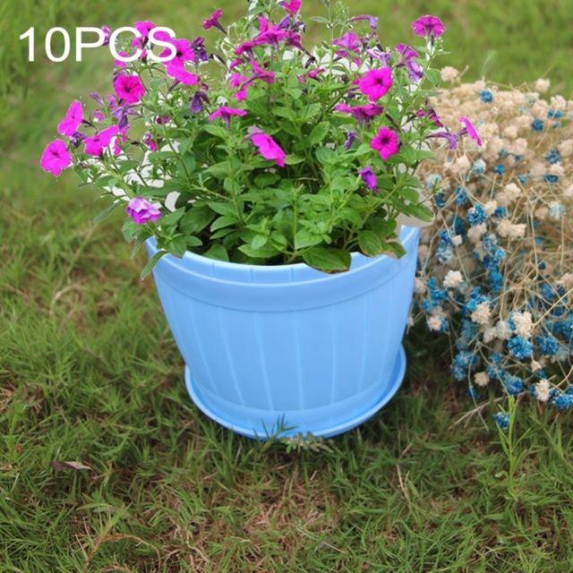 wewoo pot de fleur bleu 10 pcs imitation tonneau en bois plastique de en r sine avec plateau. Black Bedroom Furniture Sets. Home Design Ideas