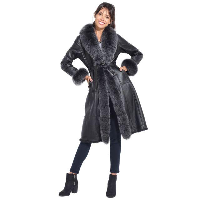 manteau femme en cuir pas cher
