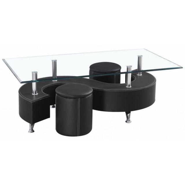 Table Basse En Verre Avec 2 Poufs Pvc Noir Topaze