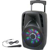 Party Light&sound - Party-8LED - Enceinte portable 8p/20cm - 300W avec usb, bluetooth, fm et micro filaire