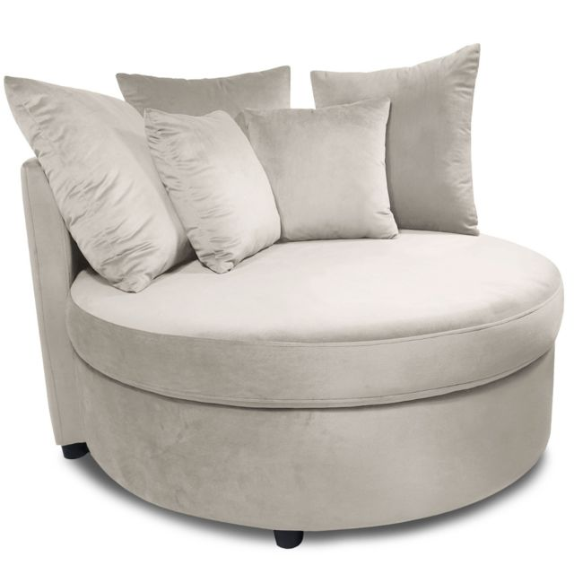MENZZO Fauteuil XXL Musso Velours Taupe
