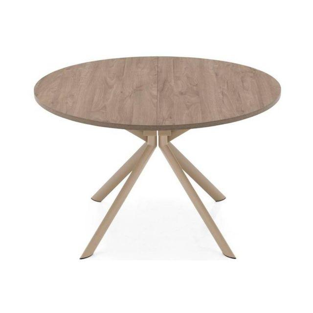 Inside 75 Table de repas extensible ronde Tulipe Quattro 120cm en bois déco nougat