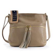 Oh My Bag - Sac à main bandoulière en cuir femme - Modèle London taupe clair