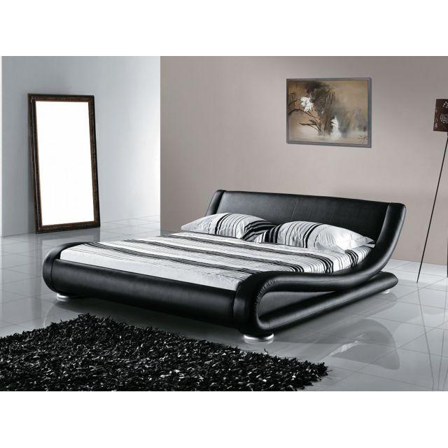 Beliani Lit design en cuir - lit double 160x200 cm - noir - sommier inclus - Avignon