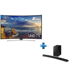 samsung tv led 55 39 39 4k smart tv incurv e barre de son incurv e 2 1 caisson de basse sans fil. Black Bedroom Furniture Sets. Home Design Ideas
