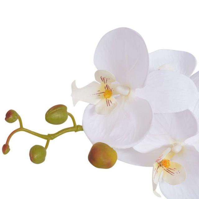 Icaverne - Fleurs et plantes artificielles gamme Plante artificielle avec pot Orchidée 65 cm Blanc