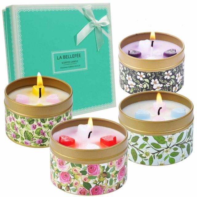 Bougies Parfumées Florales de Rose Vanille Lavande Jasmine Bougie de Cire de Soja Naturelle Parfait Choix pour Anniversa