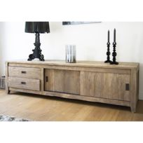 Bois Dessus Bois Dessous - Meuble Tv en bois de Teck Recycle 180cm - 2 portes coulissantes + 2 tiroirs