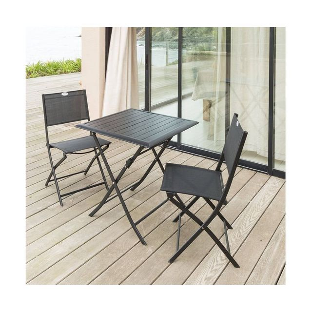 Hespéride - Table aluminium Azua 2 places noir - pas cher ...