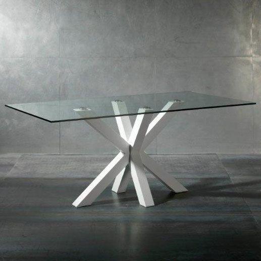 Marque Generique Table à manger en verre avec piètement acier laqué Longueur 180cmBURNLEY