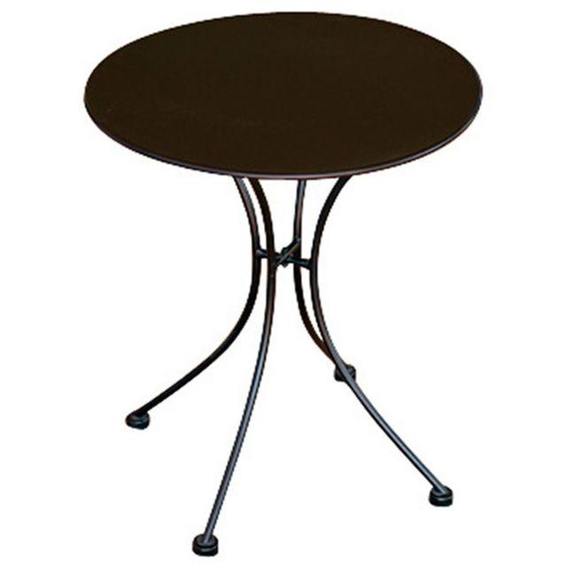 Table rond de jardin en fer forgé coloris noir - Dim : H 72 x L 60 x Ø 60  cm- A USAGE PROFESSIONNEL
