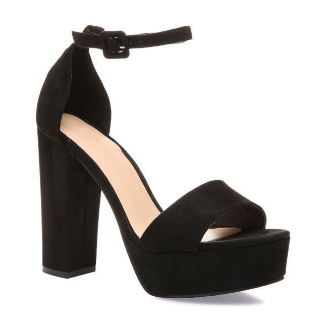 Sandales noires en suédine à talon haut