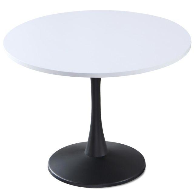 MENZZO Table ronde Necy Noir et Blanc