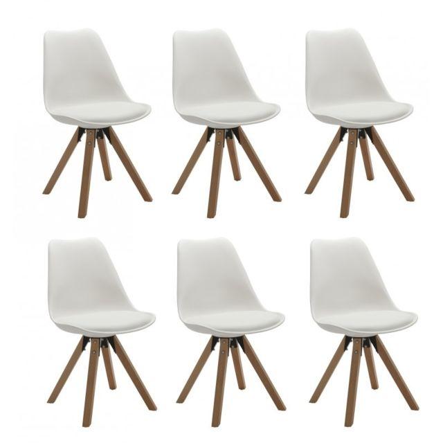 Autre Set de 6 chaises de salle à manger design simili-cuir blanc pieds bois Cds09226