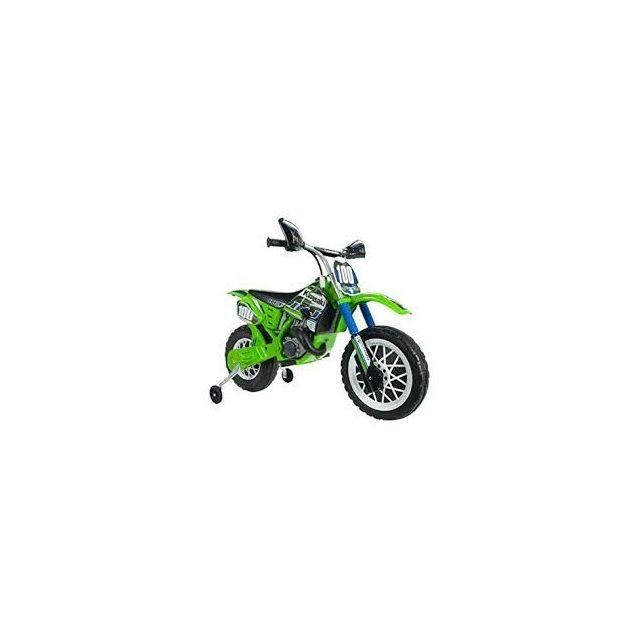 Injusa Moto Cross Kawasaki à roulettes 6V