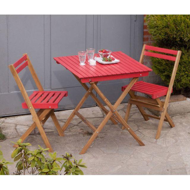 Dlm - Salon de jardin 2 places en acacia rouge Warna - pas cher ...