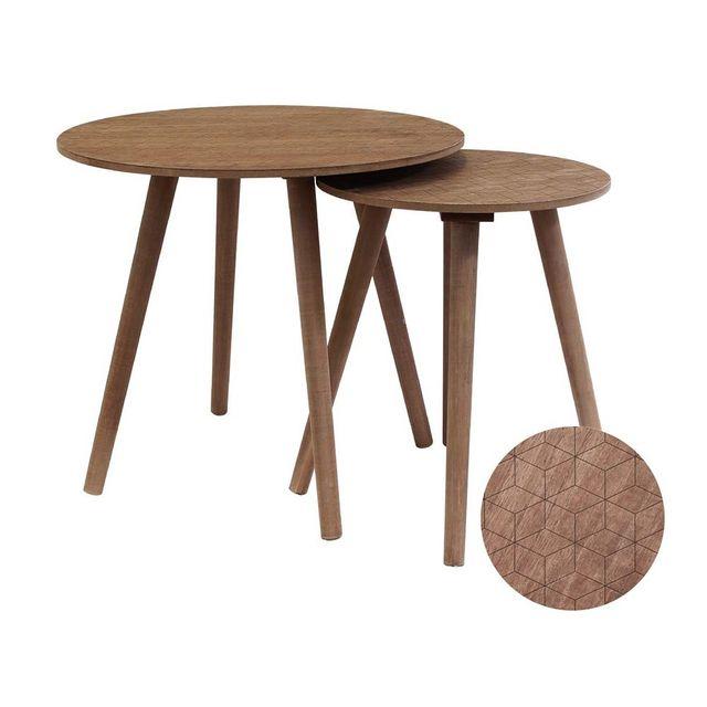 Ego Design Tables Basses En Bois Nordique Lot De 2 Pas Cher