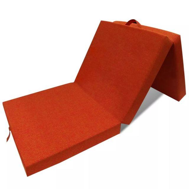 Moderne Lits et accessoires ensemble Lisbonne Matelas en mousse pliable en 3 sections 190 x 70 x 9 cm Orange
