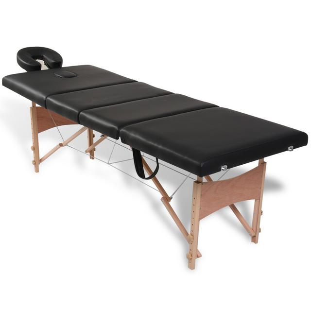vidaxl table de massage pliante 4 zones noir cadre en bois pas cher achat vente chaises et. Black Bedroom Furniture Sets. Home Design Ideas