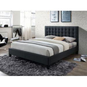 marque generique lit chiara t te de lit capitonn e tissu anthracite 160 200cm pas cher. Black Bedroom Furniture Sets. Home Design Ideas
