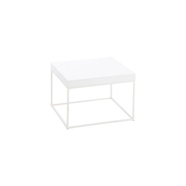 Table basse carrée en métal blanc 50x50x35cm