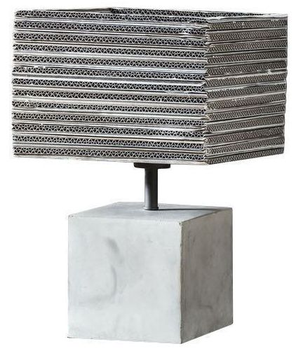 COMFORIUM Lampe de table design 1L base en béton abat-jour carré coloris blanc et gris