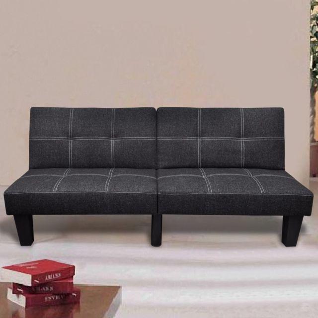 VIDAXL Canapé-lit réglable Tissu Noir | Noir