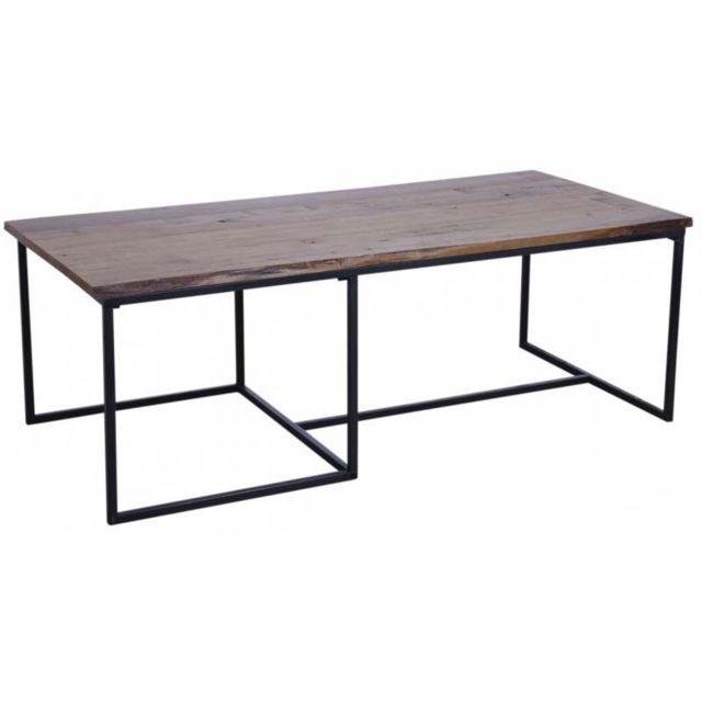 AUBRY GASPARD Table basse en bois et métal Rec