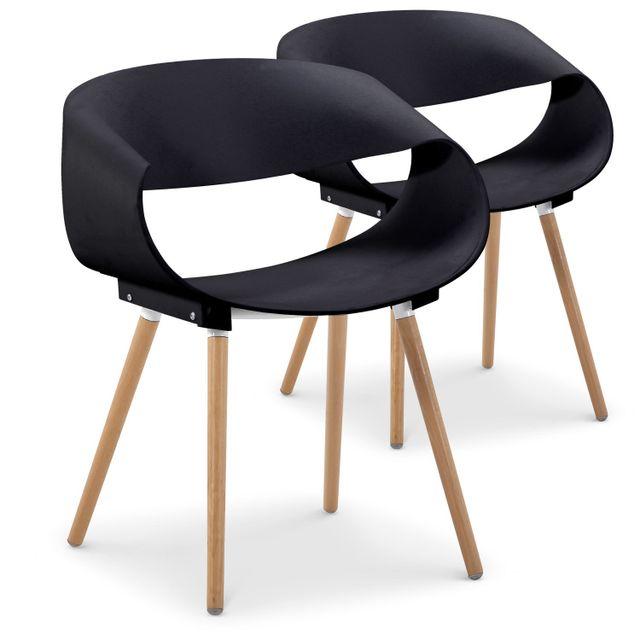 cote cosy lot de 2 chaises scandinave zenla noir pas. Black Bedroom Furniture Sets. Home Design Ideas