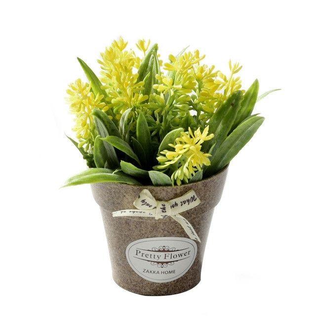 Wewoo Fleurs Artificielles 2 Pcs Faux Herbe de avec des en Pot Plastique Pour la Décoration de Ferme Rustique Jardin Jaune