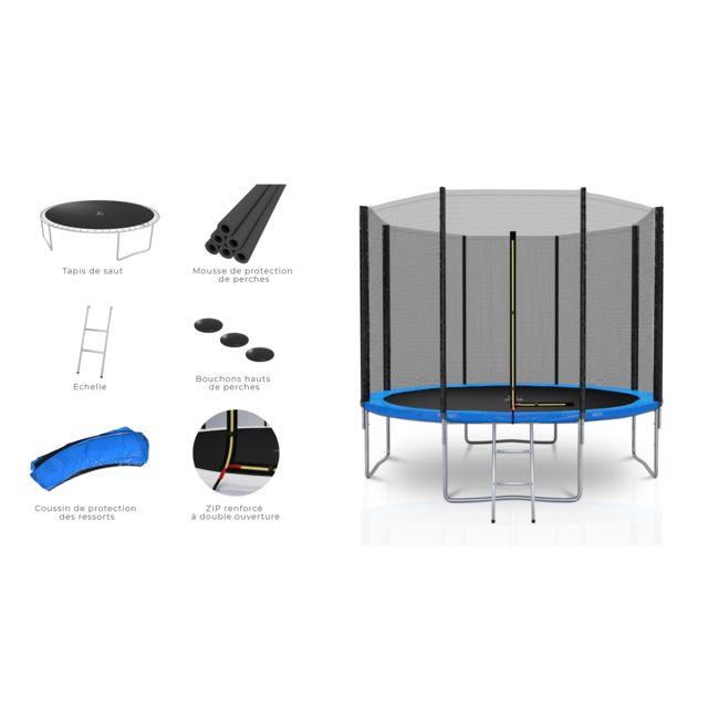Kaia Sports Trampoline extérieur 10Ft / ø305cm Deluxe Pack trampoline de jardin avec Filet extérieur, mousse de protection, échelle