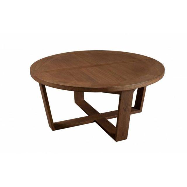Inside 75 Table Basse Ronde 90 cm Fancy en Bois Teinte Naturelle Style Colonial