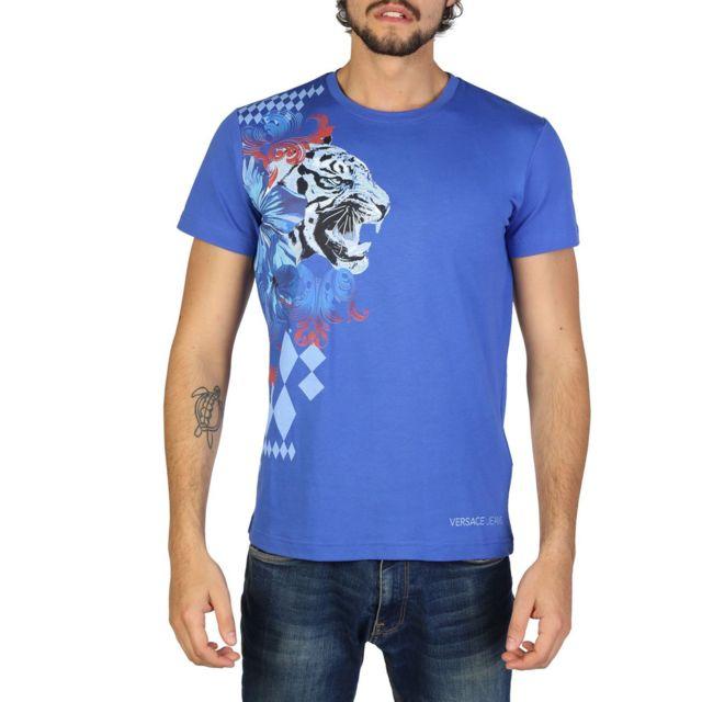 Versace - Jeans - T-shirt imprimé homme - Bleu - pas cher Achat   Vente Tee  shirt homme - RueDuCommerce 0bc53e1589b4