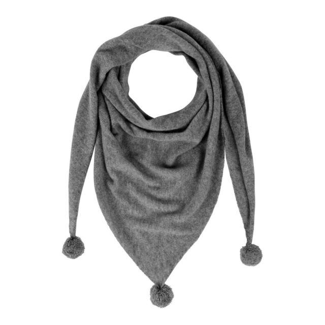 ba5d7279ba2d Les Poulettes Bijoux - Echarpe Triangle Pompom 100% Cachemire 2 Fils - Gris  - pas cher Achat   Vente Echarpes, foulards - RueDuCommerce