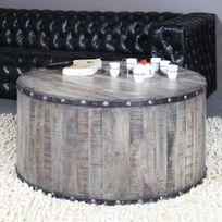 Made In Meubles - Table basse industrielle effet rondin de bois | If621